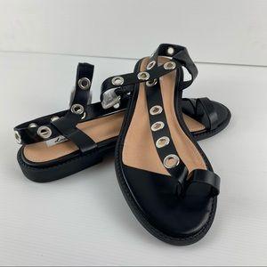 Black Open Almond Toe Sandal Shoes Size 10